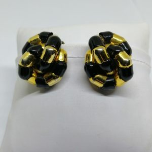 boucles d'oreilles en métal jaune d'époque 1930-50