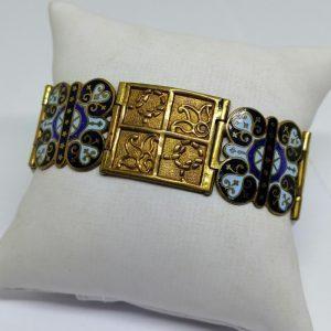 bracelet laiton et émail cloisonné 1920