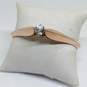 bracelet en pomponne rosé avec pierre en verre taillé époque 1880-1900
