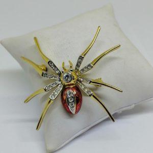 broche araignée en laiton avec strass blanc et émail rouge 1950-70