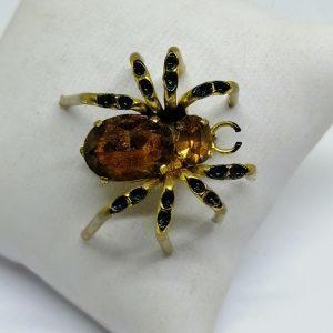 broche araignée en laiton et strass de couleur ambre 1900