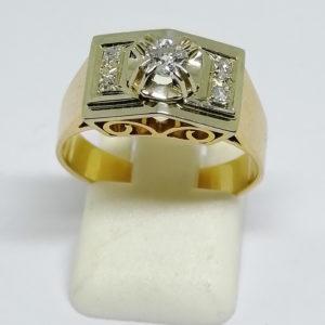 bague or bicolore diamants art déco vers 1920