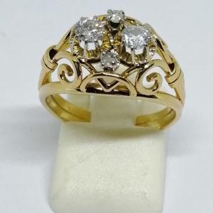 bague en or avec diamants vers 1930