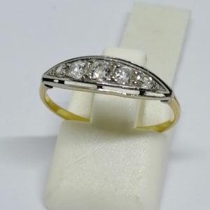 bague en or jaune avec diamants de tailles anciennes vers 1900