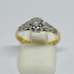 bague en or avec diamants de tailles ancienne vers 1900