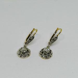 boucles d'oreilles en or avec diamants vers 1900