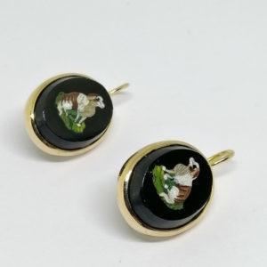 boucle d'oreilles or avec micro-mosaïque fin 19 ième siècle