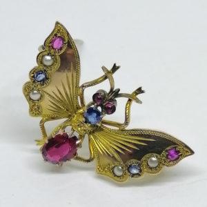 broche papillon en 8ct avec pierres précieuses art nouveau vers 1900