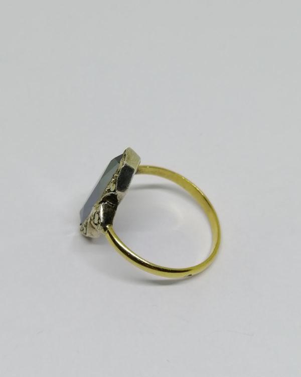 bague argent/or avec hématite hexagonale et marcasites époque art déco.