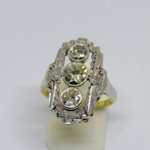 bague or 14ct et platine avec diamants art déco vers 1930.
