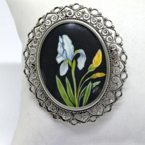 broche/pendentif en argent avec peinture miniature, vers 1920.