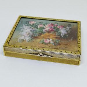boîte argent et vermeil avec peinture miniature 19ième siècle